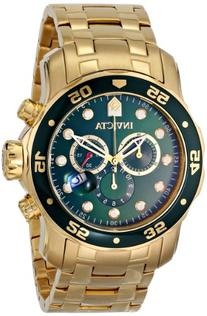 Invicta Men's 0075 Pro Diver Chronograph 18k Gold-Plated