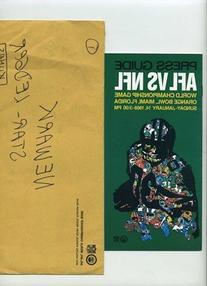 01/14/1968 Super Bowl II Media Guide & Mailing Envelope