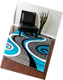 0327 Turquoise White Gray Black 5'2x7'2 Area Rug Abstract
