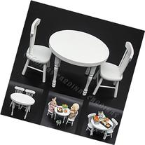 Odoria 1:12 Miniature White Wooden Dining Table with 2