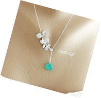 1 2 3 4 Birthstone Orchid Necklace, Dainty Silver Gemstone