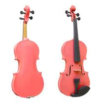 Mendini 3/4 MV-Pink Solid Wood Violin with Hard Case,