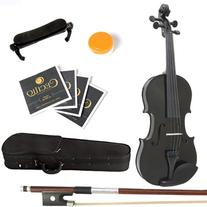 Mendini 1/4 MV-Black Solid Wood Violin with Hard Case,