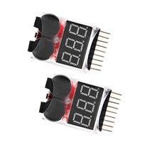 Hobbysky 2Pcs 1-8S Lipo/Li-ion/Fe Battery Low Voltage Meter