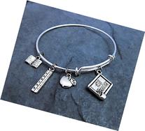 #1 - Number One Teacher Expandable Bangle Silver Charm