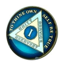 1 Year Midnight Blue AA Alcoholics Anonymous Medallion