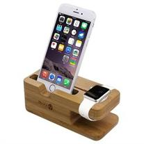 2 in 1 Apple Watch Stand iClever iWatch Bamboo Wood Charging