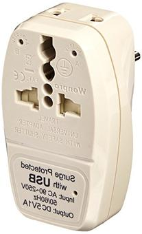 OREI 3 in 1 Israel Travel Adapter Plug with USB and Surge