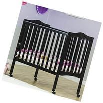 2 in 1 Lightweight Folding Portable Crib, Black