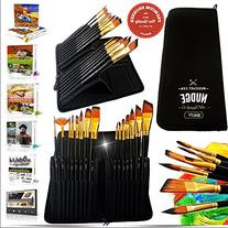 NUDGE 15 Piece Paint Brushes with Zipper Case
