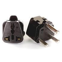 OREI 2 in 1 USA to Europe Adapter Plug  - 2 Pack, Black