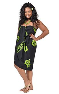 1 World Sarongs Womens Premium Fringeless Hibiscus PLUS Size