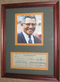 10/15/1959 Green Bay Packers Payroll Check & Photo Framed