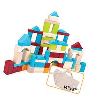 100 Piece Natural Wooden Building Block Set with Carrying