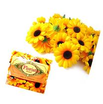 Silk Yellow Sunflower Gerbera Daisy Flower Heads , Gerber