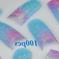 100 Blue Red Glitter French False Nail Tips by 350buy