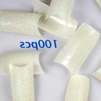 100 Glitter Nature False French Acrylic Nail Art Tips by