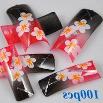350BUY 100 Mixed Colors Flowers False Acrylic French Nail