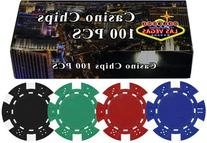 100 11.5 gram Poker Chips in Welcome to Las Vegas Gift Box;