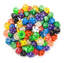 100+ Pack of Random D10 Polyhedral Dice in Multiple Colors