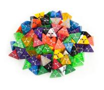 100+ Pack of Random D4 Polyhedral Dice in Multiple Colors By