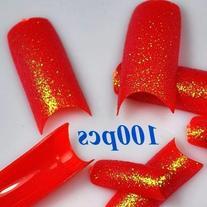 100 Stunning Glitter Super Red False French Acrylic Nail Art