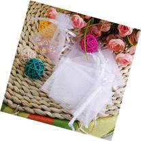 100Pcs White Organza Drawstring Pouches Jewelry Wedding