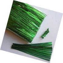 "Weststone Brand - 100pcs 4"" Metallic Green Twist Ties"