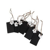 10x Mini White Flower Rectangle Wood Chalkboard Tags