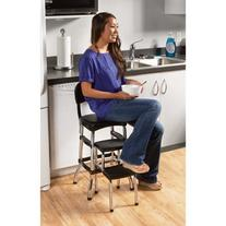 Cosco Black Retro Counter Chair / Step Stool, Black