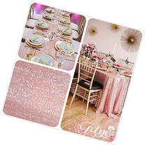12''x108'' Blush Pink Sequin Table Runner, Sequin Table