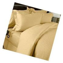 1200 Thread Count 100% Egyptian Cotton STRIPED Gold Queen