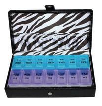 14 Day Black Croc Large Pill Box Zebra Lining Storage
