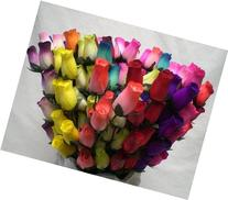 144 Mixed Colors Wooden Rose Buds Artificial Flower 18 x 8