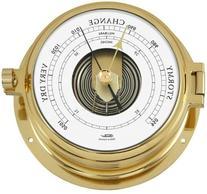 1605B-45 Fischer Solid Brass Nautical Open Face Barometer,