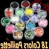 350buy 18 Rainbow Colour Octagon Acrylic Glitter Powder