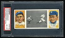 "1912 T202 Hassan Triple Folder of ""Wheat Strikes Out"" with"