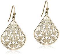 1928 Jewelry Brass Filigree Wire Earrings, Gold-tone, 1 pr
