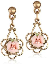 1928 Jewelry Porcelain Rose Gold-Toned Pink Drop Earring
