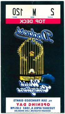 1982 Los Angeles Dodgers Opening Day Ticket