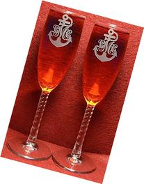 2 Personalized Etched Monogram Anchor Toasting Champagne