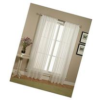 Elegant Comfort 2-Piece Solid White Sheer Window Curtains/