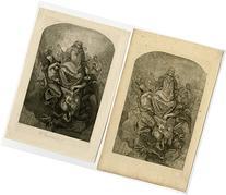 2 Antique Master Prints-SAINT SERVATIUS-ALLEGORY-PROOF-
