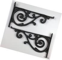 2 Brackets Shelf Braces Iron Patio Garden Ornate