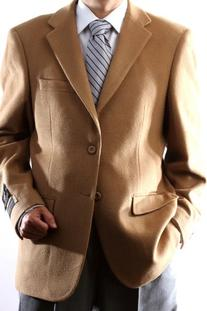 Men's 2 Button Luxury Wool Cashmere Camel Sport Coat 44L