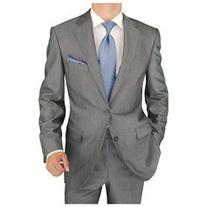 Salvatore Exte Men's 2 Button Striped Silver Gray Suit