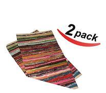 "2 pack - 20""x31.5"" Cotton Rag rug multi color, handmade"