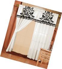 Chezmoi 2 Panel Black and White Floral Window Curtain/Drape