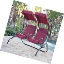 Bellezza© 2 Person Outdoor Patio Swing Set Armrest Cup-