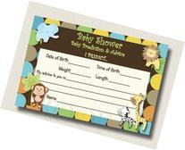 20 King of Jungle Monkey Zebra Baby Shower Advice Cards